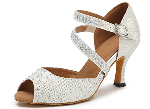 Shoes Honeystore White US Dance 8 Party Jean Rhinestone Shoes Shoes Dance B M Latin Mary Women's Glitter 7x7aXr