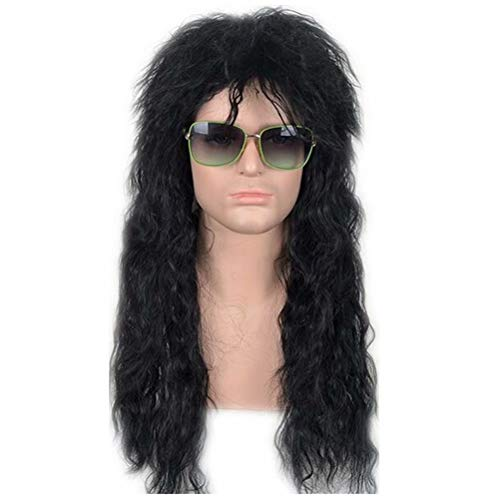 NiceLisa Masquerade Evening Party Cosplay Wig Long Layered Corncob Perm 80s Male Role Play Wigs