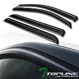 Topline Autopart Curved Style Sun Wind Rain Guard Smoke Vent Shade Deflector Window Visors 4PC For 14-17 Chevy Silverado / GMC Sierra 1500 2500 3500 HD Denali Crew Cab