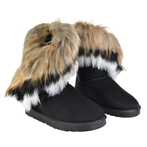 Fur Bk1 Womens Flat Ankle Warm Tassel Boots Donalworld Suede Shoes wvqH14na
