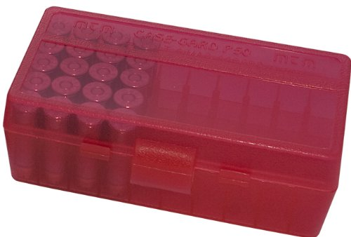 MTM 50 Round Flip-Top Ammo Box 38/357 Cal (Clear Red)