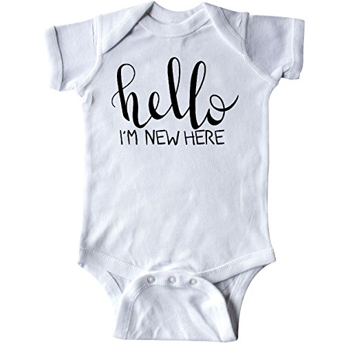 inktastic Hello, Im New Here- Hand Drawn Infant Creeper Newborn White 2d407 (Im New Here Onesie)