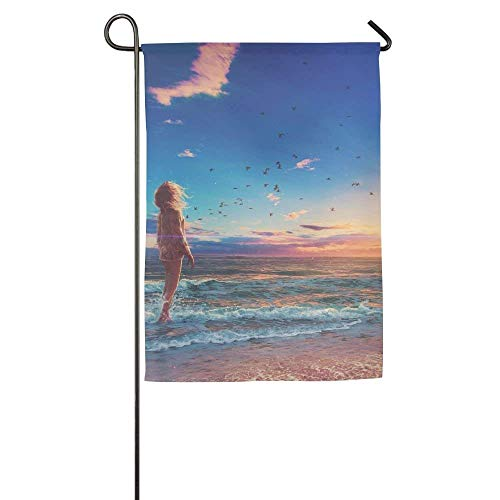 HUVATT Girl Beach Sunrise Morning Digital Art Garden Flag Indoor & Outdoor Decorative Flags for Parade Sports Game Family Party Wall Banner 28 x 40 inch -