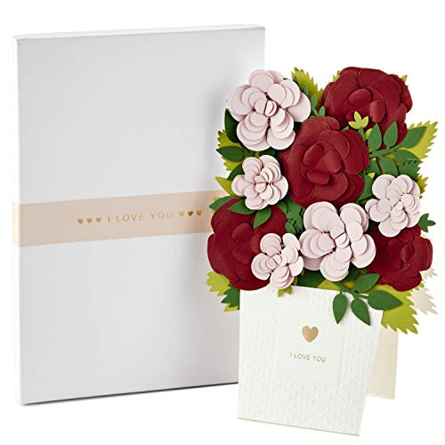 Hallmark Signature Paper Craft Flowers Displayable Bouquet Valentines Day Card, Anniversary Card, or Love Card (I Love You)