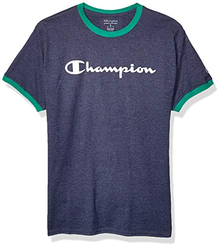 Champion Men's Classic Jersey Graphic Ringer T-Shirt, Imperial Indigo Heather/Kelly Green, Large