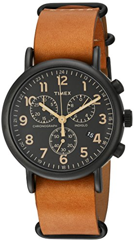 Timex Unisex TW2P97500 Weekender Chrono Tan Leather Slip-Thru Strap Watch