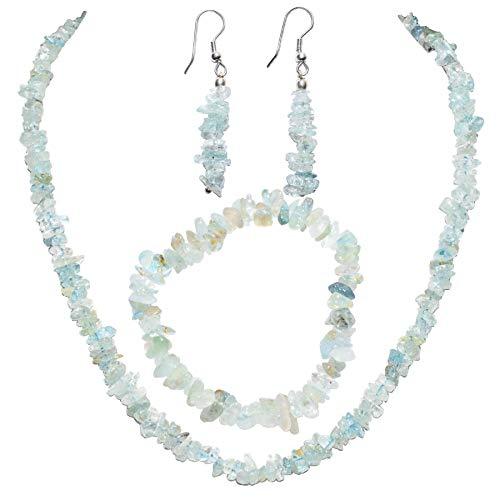(Zenergy Gems Charged Aquamarine Crystal Chip Jewelry Set (18
