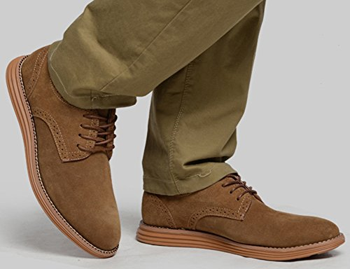 Idifu Mens Casual Faux Suede Low Top Wingtip Oxford Scarpe Stringate Sneakers Cammello