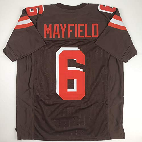 Men's Unsigned Baker New Jersey Amazon Brown Collectibles com Mayfield Xl Football Size Brands No Cleveland Sports logos Stitched Custom