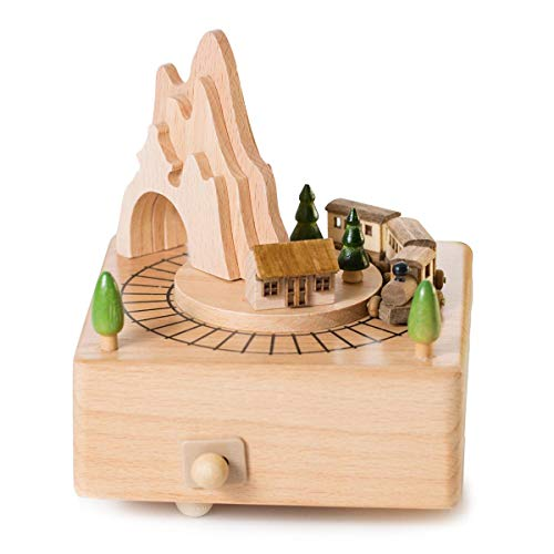 ADM-LC Music Box Wooden (Beech) Featuring Mountain Tunnel with Small Moving Magnetic,Rotate(The music rings and the trains turns automaticall,Rhymes Movement,Plays Music Spirited away By (Train)