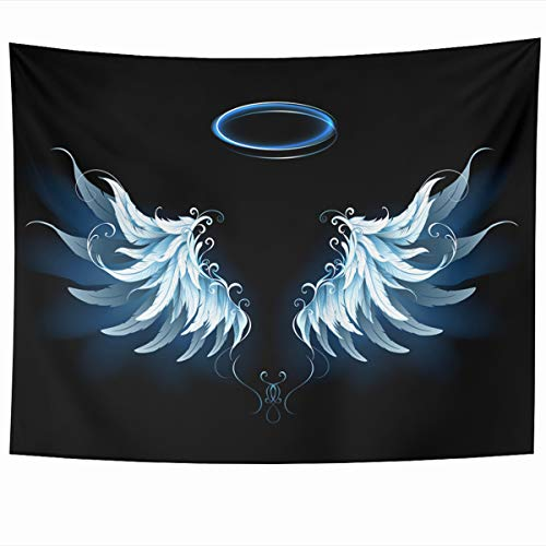 - Ahawoso Tapestry Wall Hanging 60x50 Inches Blue Feathers Light Artistic Angel Wings Heavenly On Abstract Angelic Author Billet Bird Design Home Decor Tapestries Art for Living Room Bedroom Dorm