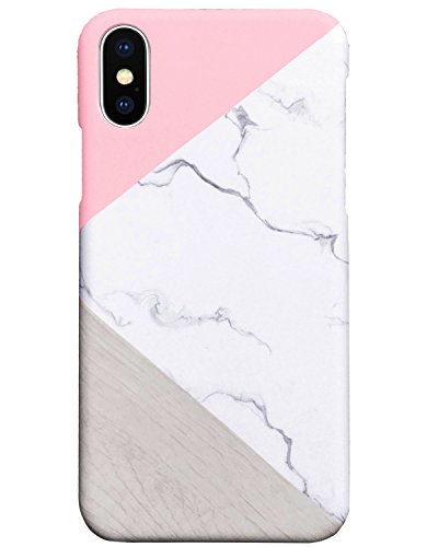 iPhone X Case, Jwest Ultra Thin Unique Marble Design Pink Geometric Anti-Scratch & Fingerprint Shock Proof Slim Fit Shell Non Slip Matte Back Hard Snap-on Protective Cover For iPhone X (2017)