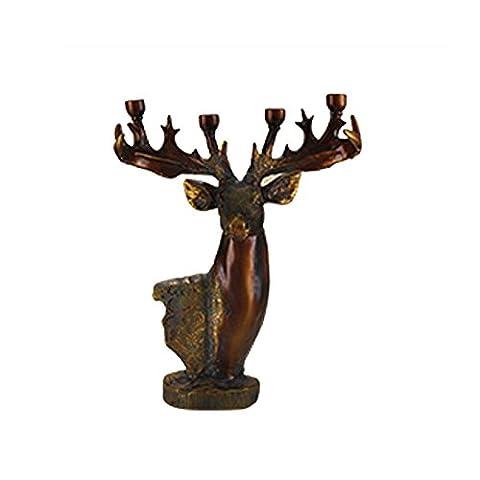 Elegant Vintage Resin Deer Horned Candlesticks Carving Fine Antler Candle Tables Crafts Ornaments Office Home Decorations Figurine - Antler Carving