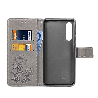 Grey Leather Case for Huawei P30,Strap Wallet Flip Cover for Huawei P30,Herzzer Classic Pretty Four Leaf Clover Print Magnetic Card Slots Stand Folio Case with Soft TPU: Musical Instruments