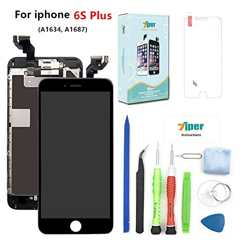 (Screen Replacement for iPhone 6S Plus (5.5 inch) - LCD Display Touch Digitizer Assembly Set with Proximity Sensor, Front Camera, Earpiece, Tempered Glass, Repair Tools and Instruction (Black))