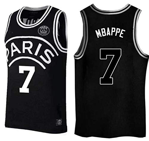 Kylian Mbappe,Basketball Jersey,PSG, New Fabric Embroidered,Swag Sportswear (White, S) ()