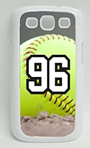 Softball Sports Fan Player Number 96 Decorative White Plastic Samsung Galaxy S3 Case