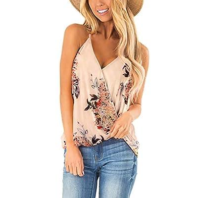 Aokosor Womens Deep V Neck Wrap Spaghetti Strap Tank Tops Summer Sleeveless Shirts Blouses at Women's Clothing store