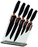 Kitchen Knife Block Set Copper 5 Piece Set With Knives & Clear Acrylic Block Stainless Steel - By Nuovva