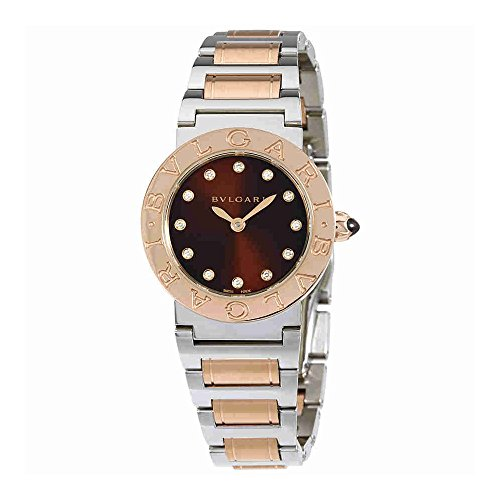 Bvlgari BVLGARI Brown Lacquered Diamond Dial Stainless Steel & 18k Pink Gold 26mm Ladies Watch 102155