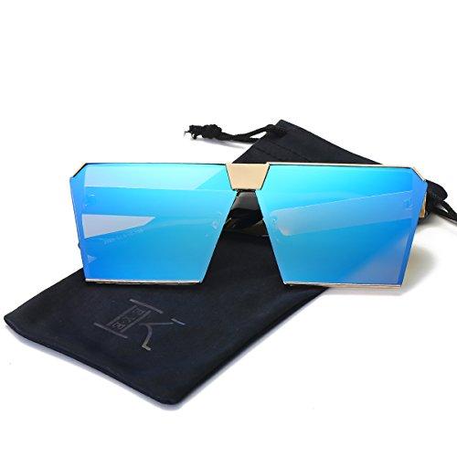 - LKEYE - Unique Oversize Shield Vintage Square Sunglasses LK1705 Gold Frame/Blue Lens
