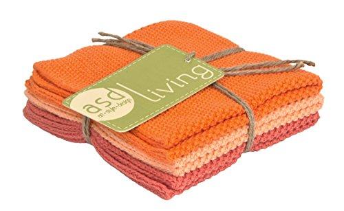 ASD Living 4C-410 Absorbent Cotton (Set of 3) Set of Dishcloths, Melon, 10 x 10