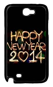 2014 Happy New Year Light Painting Bokeh Polycarbonate Hard Case Cover for Samsung Galaxy Note 2/ Note II/ N7100 Black