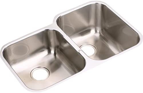 Elkay EGUH3120L Offset Double Bowl Undermount Stainless Steel Sink
