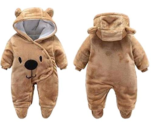 Newborn Baby 3D Cartoon Bear Hooded Thick Windproof Romper Jumpsuit Warm Footies Size 0-3M (Brown) -