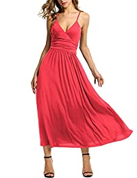Meaneor Women's V-neck Empire Waist Maxi Dress Spaghetti Strap Wrap Long Dress