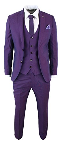 (Mens Violet Plum Slim Fit 3 Piece Suit Occasional Wedding Party Prom Tonic)