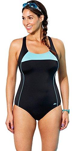 Aquabelle Women's Plus Size Xtra Life Lycra Mint Border X-Back Swimsuit 24 Multi