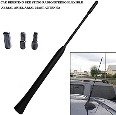 Anti-bruit R/ésistant aux intemp/éries M/ât en spirale flexible Antenne universelle de 16 pouces AM//FM pour voiture