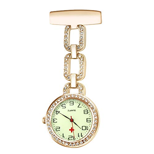 CestMall Nurse Watch Paramedic Doctor Pocket Watches Luminous Quartz Hanging Lapel Pin Clip on Hanging Medical Brooch Fob Watch (Rose Gold)