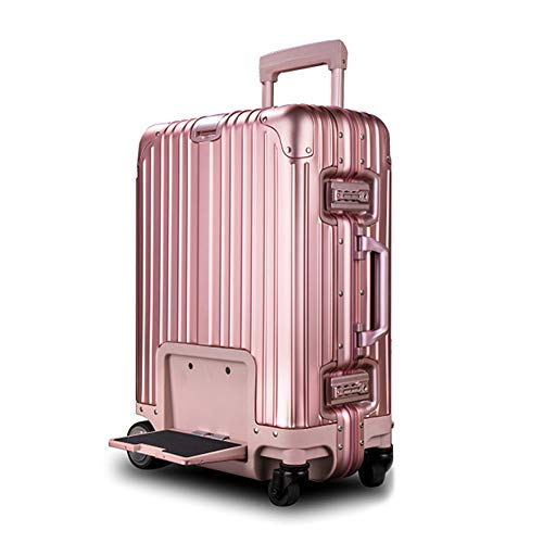 20-inch Electric Riding Suitcase, Intelligent Remote Control Follow Trolley Luggage, Fixed-Speed Cruise USB Charging Positioning Anti-Lost, 200kg Load/Loadable People 10km,Pink