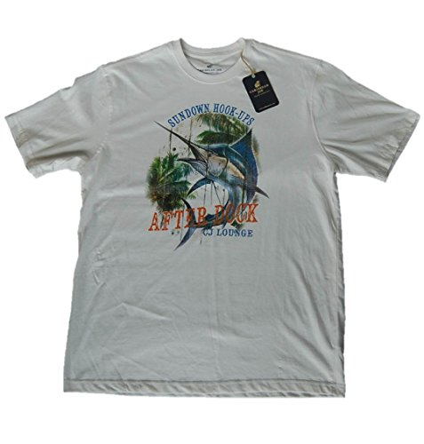 Caribbean Joe Men's Sundown Hook-Ups Blue Marlin Fishing T-Shirt, Large, White Hook Ups Shirts