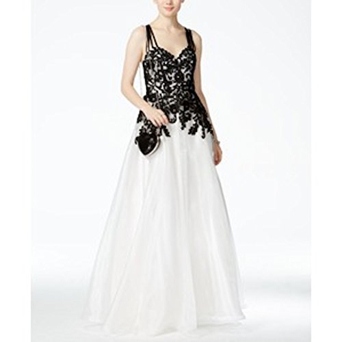 b darlin juniors colorblocked lace a line gown size 7/8 black/white