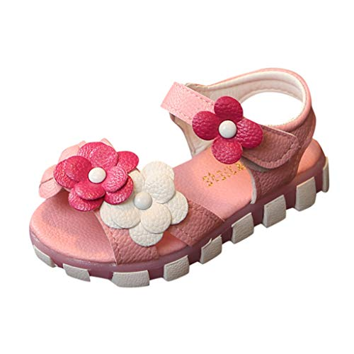 Girl's Flower Open Toe Strap Sandals Soft Leather Princess Shoes Summer Water Sandals (Toddler/Little Kid) Pink -