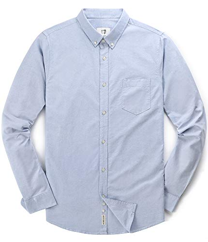 Men's Oxford Long Sleeve Button Down Dress Shirt with Pocket,Light Blue,XX-Large ()