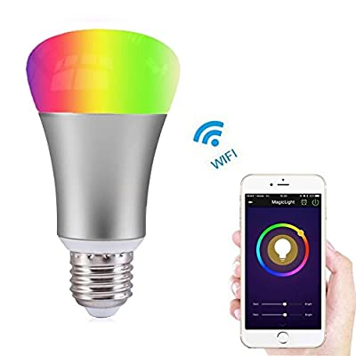 Akface WiFi Smart A19 LED Light Bulb, White and Dimmable Multicolored Color,No Hub, for iOS Android (iPhone iPad ,Samsung LG)