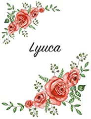 Artist-made, personalized notebook for Lyuca. This journal features hand-painted roses printed on high-quality softcover. The notebook contains 120 pages of narrow-lined, white paper and measures 7.44 x 9.69 inches (between A4 and A5 format)....