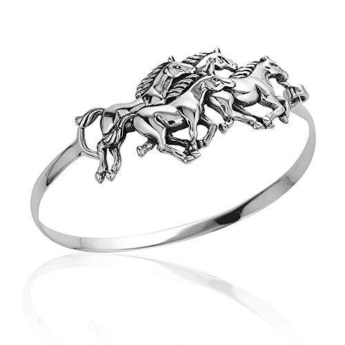 925 Sterling Silver Four (4) Horses Equestrian Unisex Wrap Bangle Bracelet, Hook Closure by Chuvora