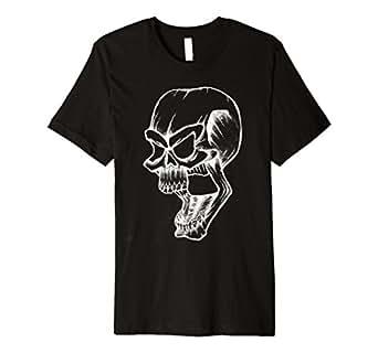 Mens Evil White Skull Shirt for Biker Apparel 2XL Black