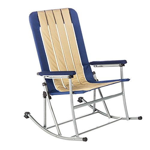 Kamp-Rite Folding Rocking Chair, Blue/Tan