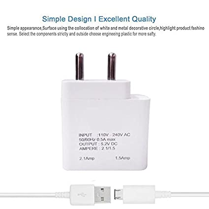 Oppo A83 2 Amp Dual Port Charging Adaptor with 1 Meter