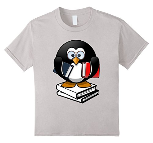 Kids Penguin Shirt Love Books Glasses Geek Funny Gifts T-Shirt 12 Silver (Nerdy Girl Costume Ideas)