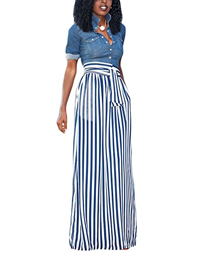 Striped Womens Skirt Suit (XAKALAKA Women's High Waist Vertical Striped Maxi Skirt Long Skirts with Pocket)