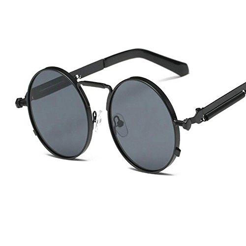 Sol Redondas Gafas Metálico Hombre para Mujer Gris WANGKEAI Retro Hombre Y para Negro Gafas Sol De 460R Uv400 De Gafas Retro Steampunk t66xT7SqZw