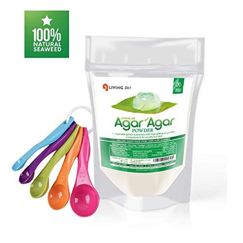 LIVING JIN Agar Agar Powder 4oz and 5-Piece Measuring Spoon Set : Vegetable Gelatin Powder Dietary Fiber [100% Natural seaweed + Non GMO + VEGAN + VEGETARIAN + KOSHER + HALAL]