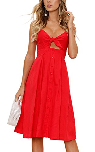 (ECOWISH Womens Dresses Summer Tie Front V-Neck Spaghetti Strap Button Down A-Line Backless Swing Midi Dress Red M)